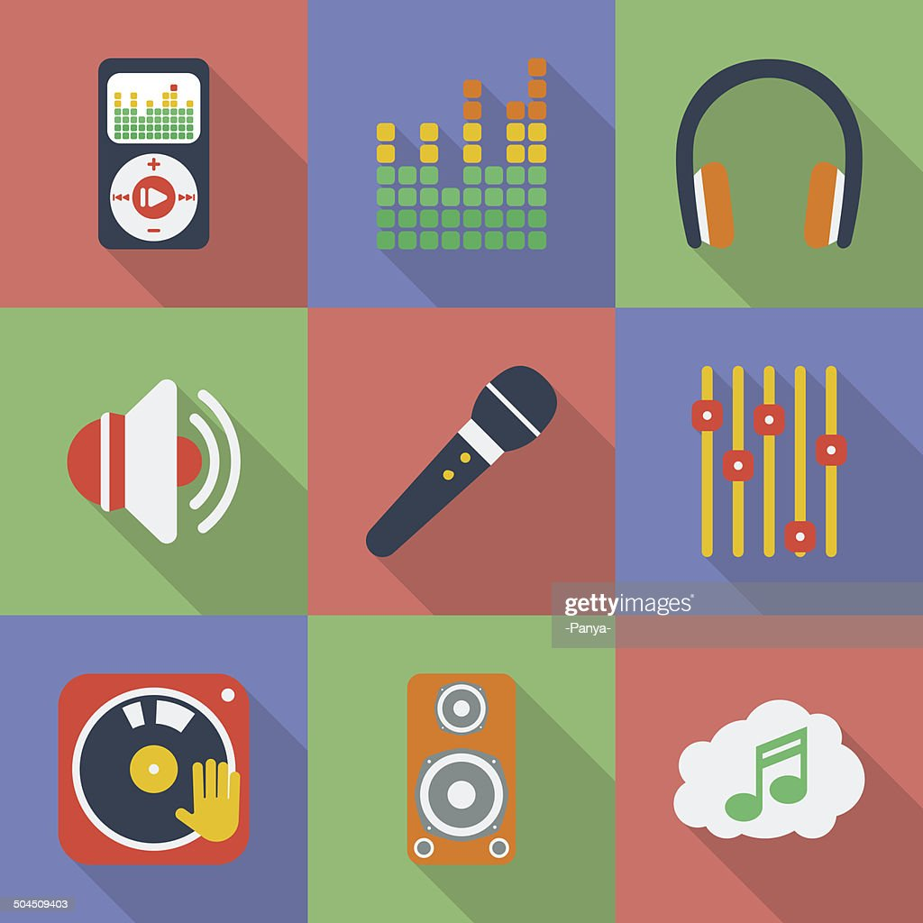 Set of icons of Music theme.  Modern flat style