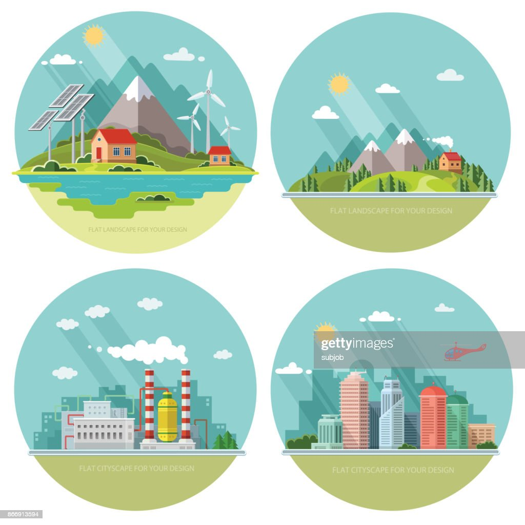 Set of icons of nature for your design. The theme of ecology, industry, city, countryside. Flat style vector illustration.