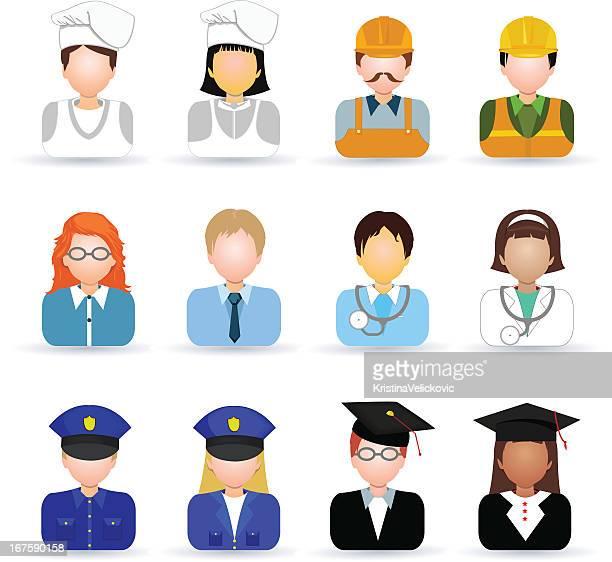 ilustraciones, imágenes clip art, dibujos animados e iconos de stock de iconos de personas - gorro de chef