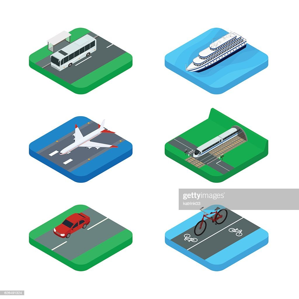 Set of icons of public and personal passenger transport