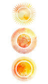 Set of icons of suns with different rays