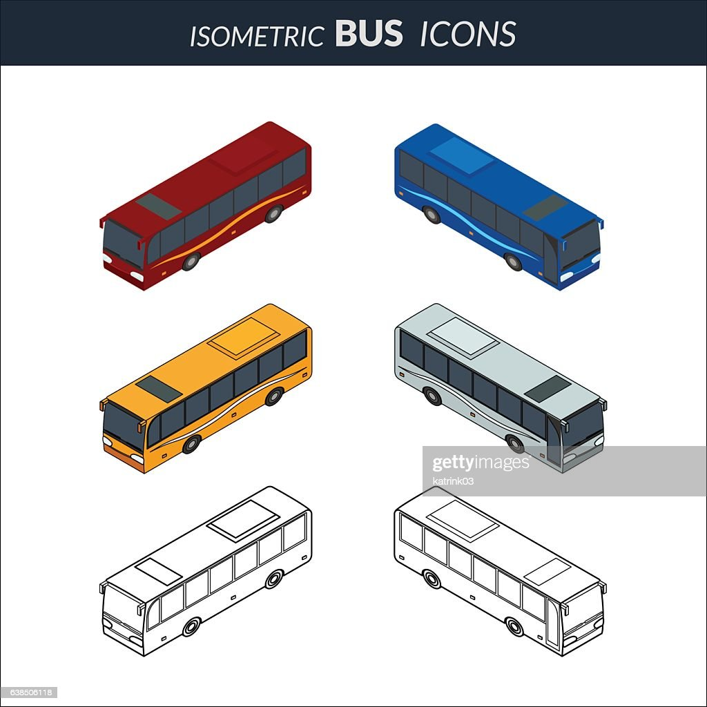 Set of icons of the bus