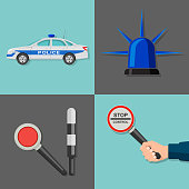 A set of icons on a police subject