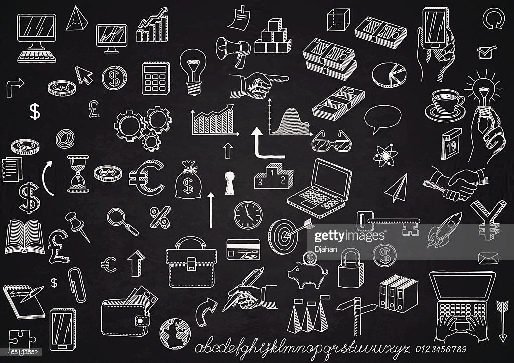Set of icons on chalkboard