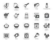 Set of icons on cookery theme isolated on white background. Flat labels for cooking projects. Vector illustration