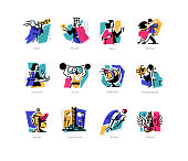 A set of icons on the theme of art forms. Music, choreography, singing, literature, theater, circus. Vector flat illustration. Hobbies of creative people. Icons for the site, banner and print. Emblems, symbols.