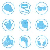 Set of icons personal protective equipment