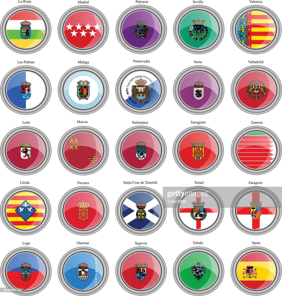 Set of icons. Provinces of Spain flags