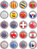 Set of icons. Regions of France flags.