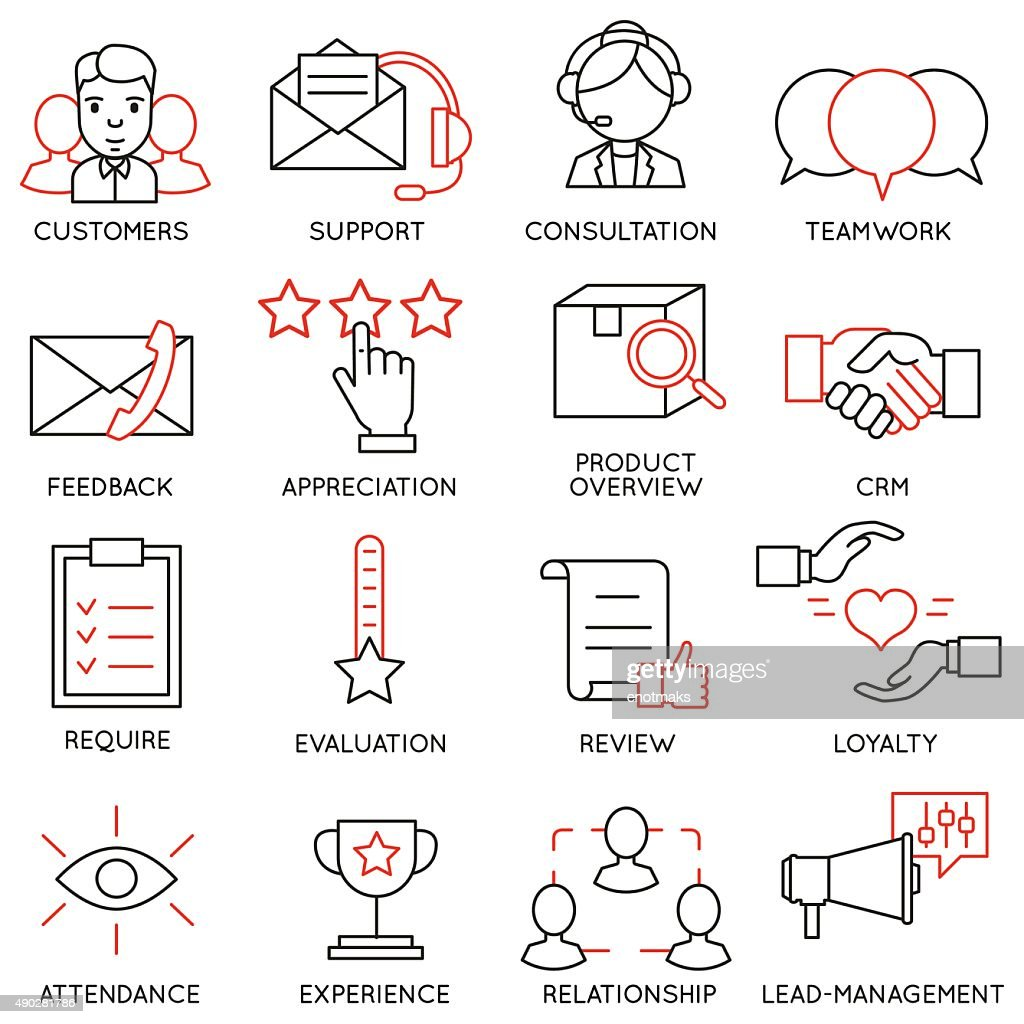 Set of icons related to business management - part 13