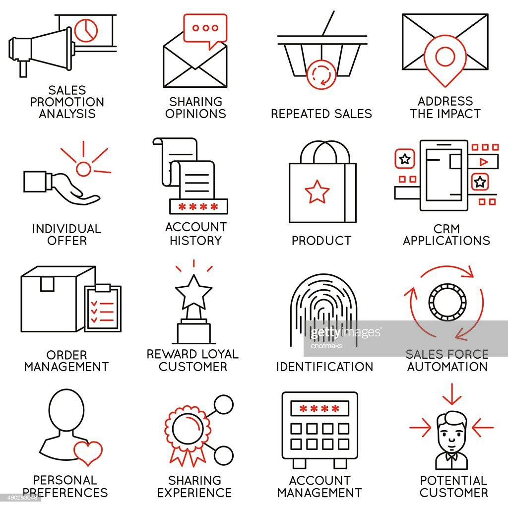 Set of icons related to business management - part 14
