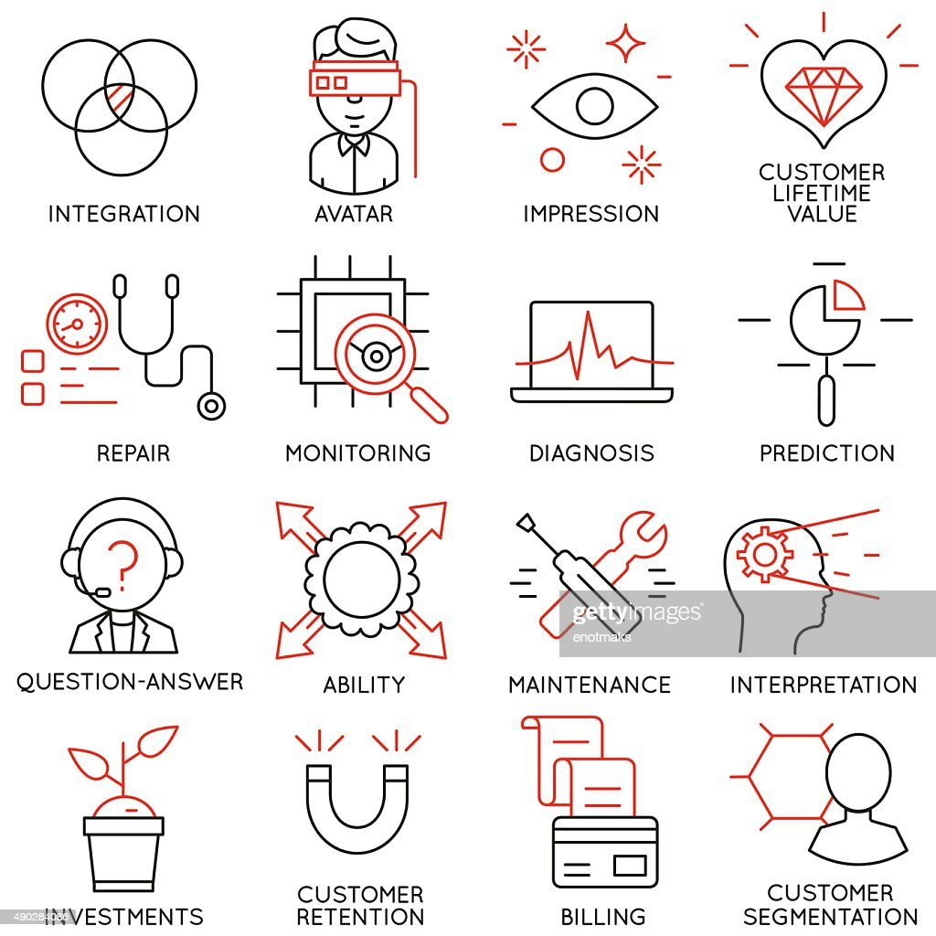 Set of icons related to business management - part 16