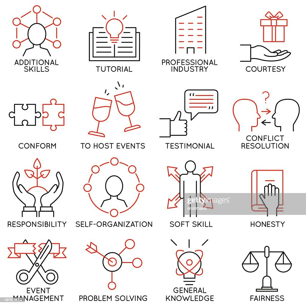 Set of icons related to business management - part 28