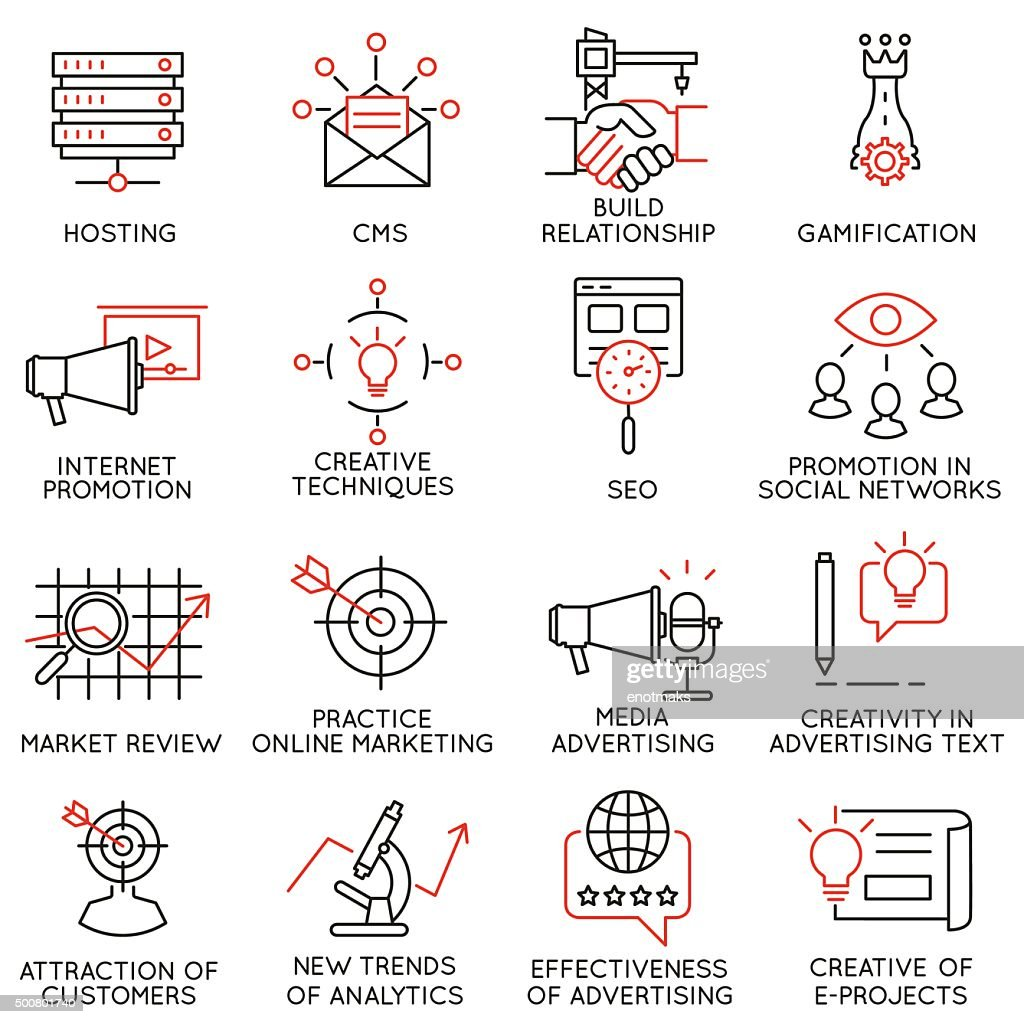 Set of icons related to business management - part 32
