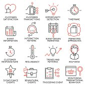 Set of icons related to business management - part 34