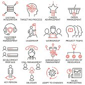 Set of icons related to business management - part 36