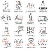 Set of icons related to business management - part 44