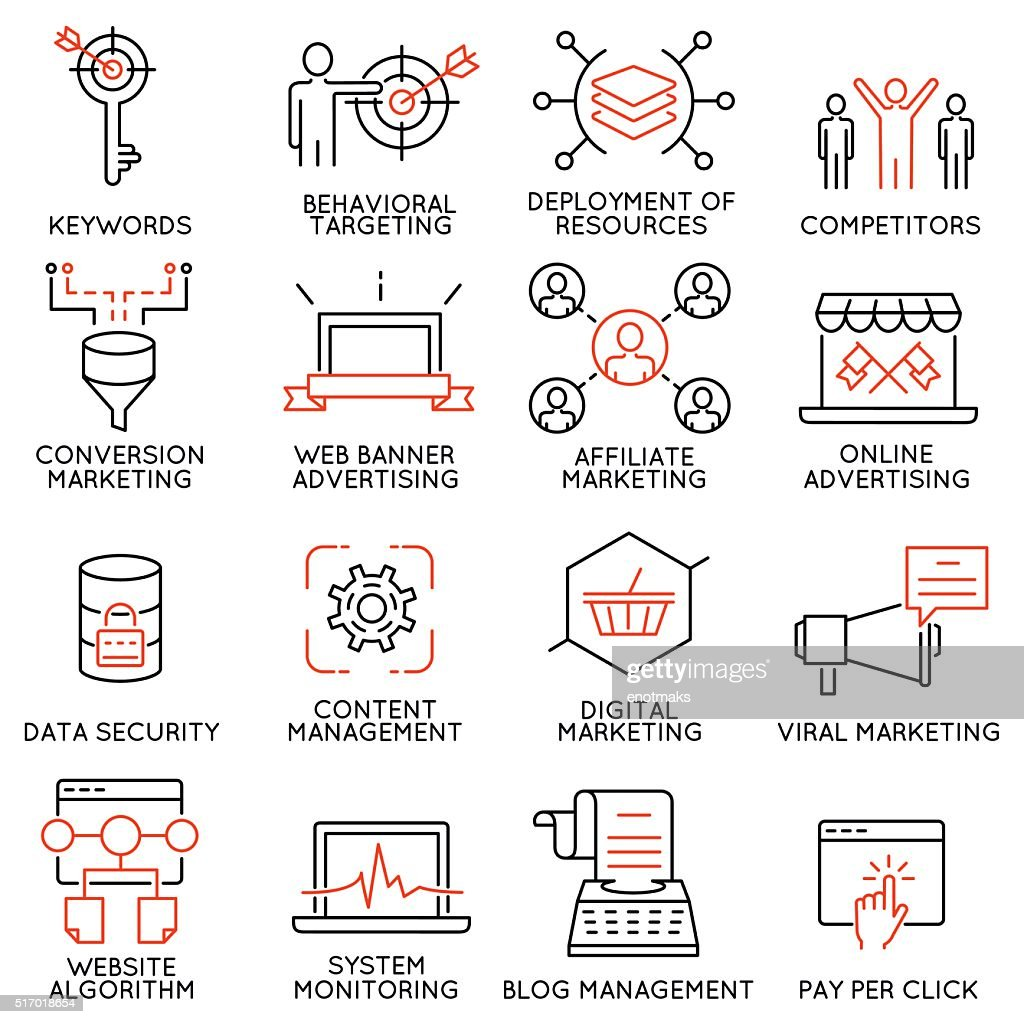 Set of icons related to business management - part 45