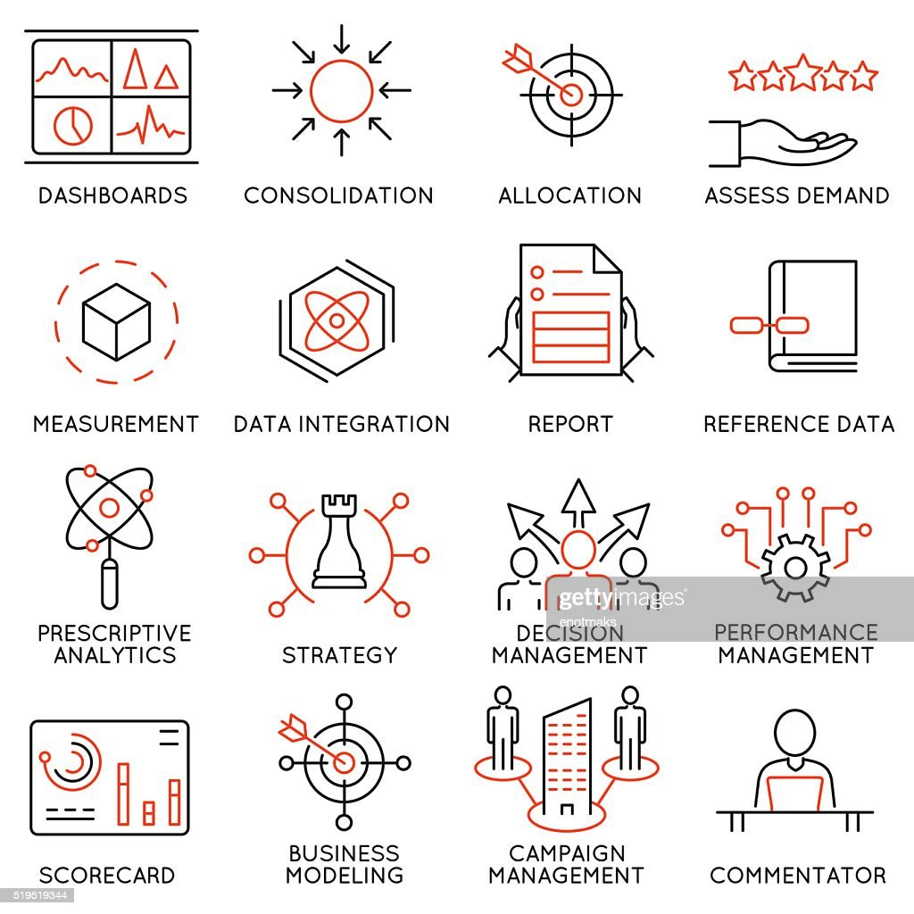 Set of icons related to business management - part 47
