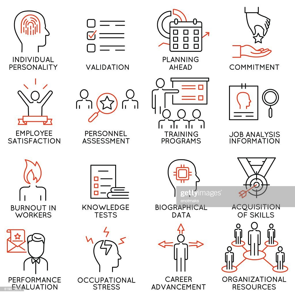 Set of icons related to business management - part 48