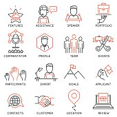 Set of icons related to business management - part 50