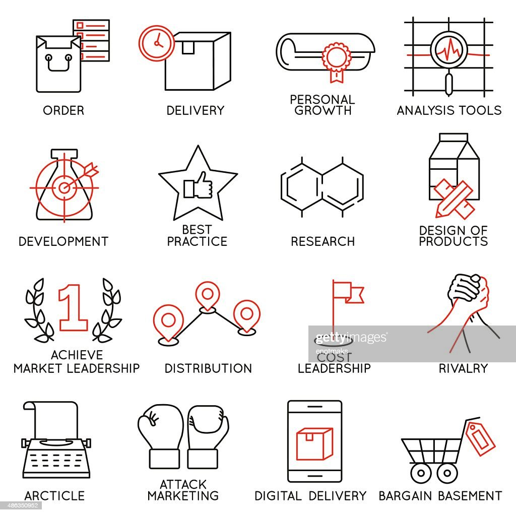 Set of icons related to business management - part 8