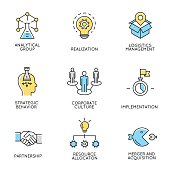 Set of icons related to corporate management - part 3