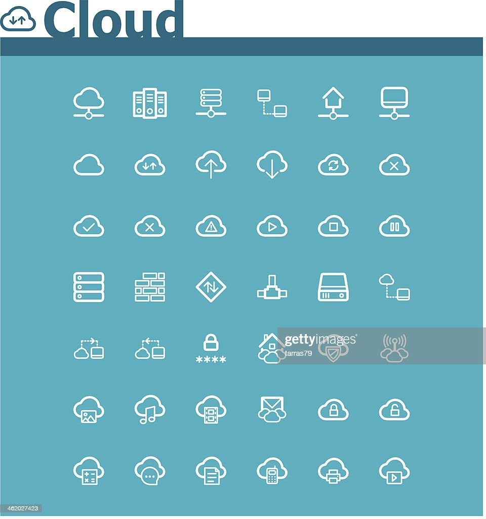 A set of icons representing cloud computing functions