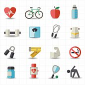Set of icons representing ways to keep healthy