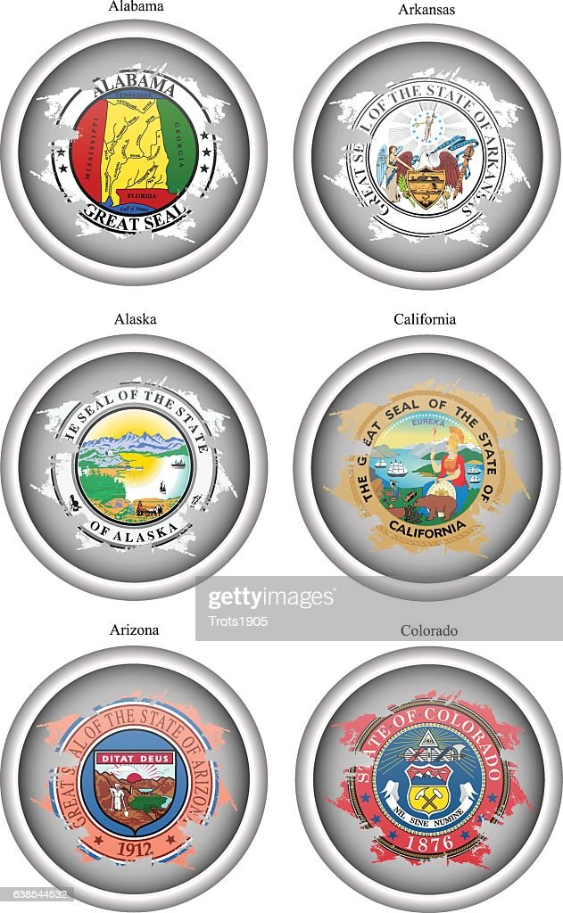 Set of icons. States of USA seals.