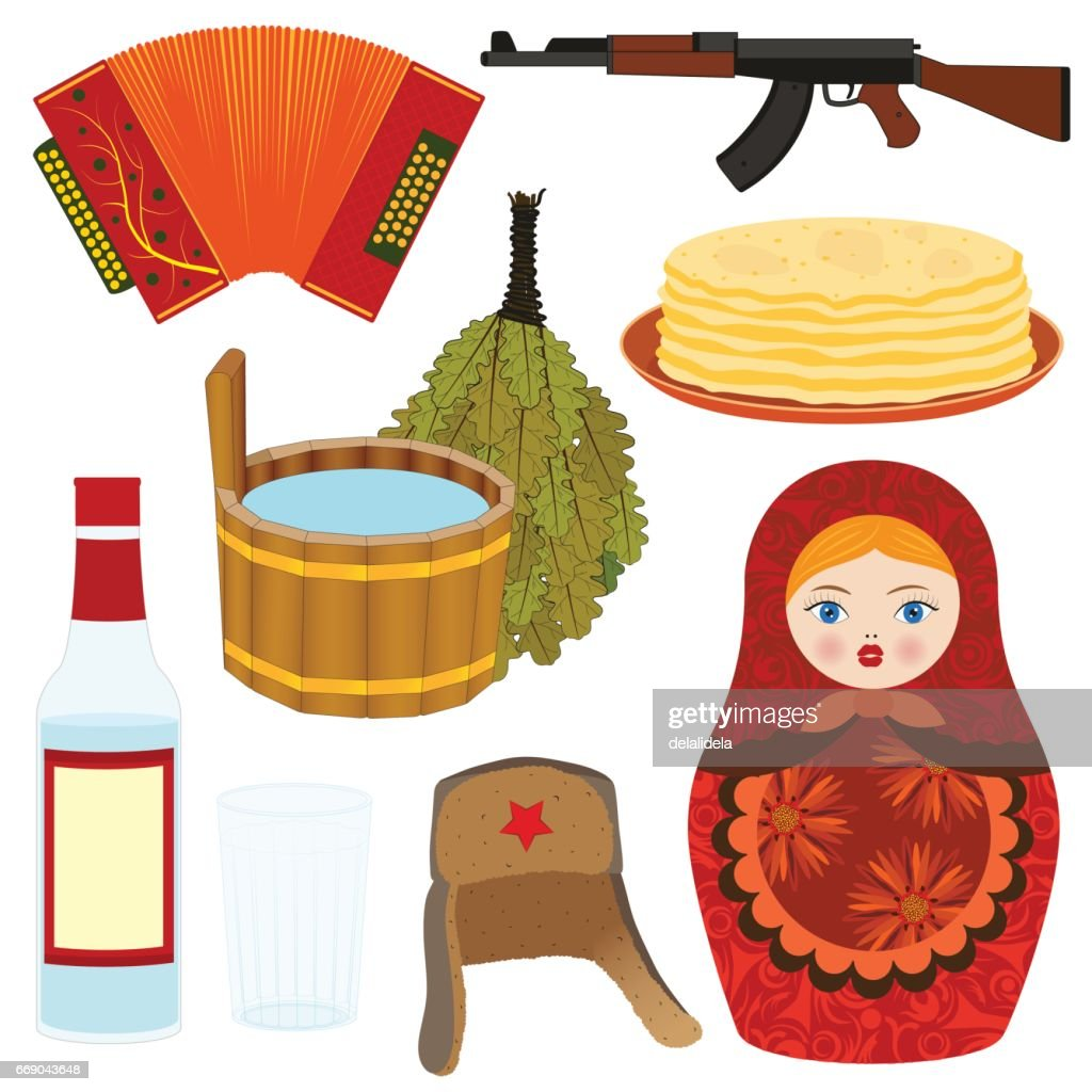 Set Of Icons Symbols Of Russia Vector Art Getty Images