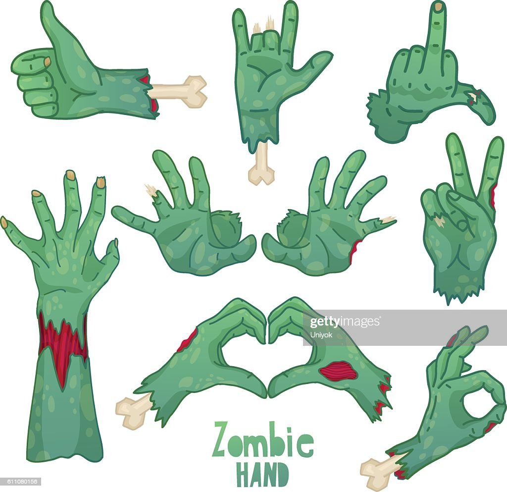Set of icons, symbols, pin with cartoon zombie hands.