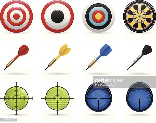 Set of icons with different bullseyes, targets and darts