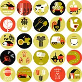 Set of icons with farming silhouettes