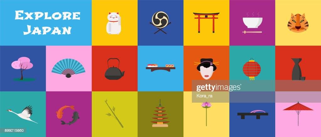 Set of icons with Japan landmarks in vector