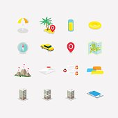 set of icons with perspective