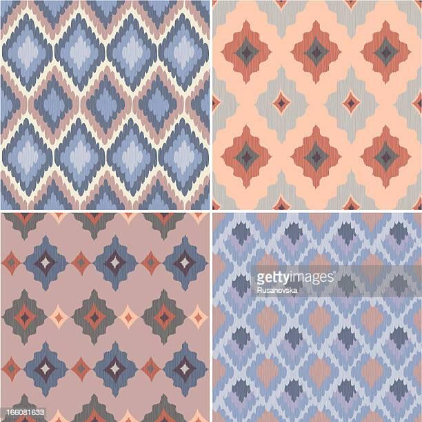 イカットシームレスなパターンのセット - イカット点のイラスト素材/クリップアート素材/マンガ素材/アイコン素材