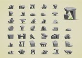 Set of illustrated icons of stones with grass
