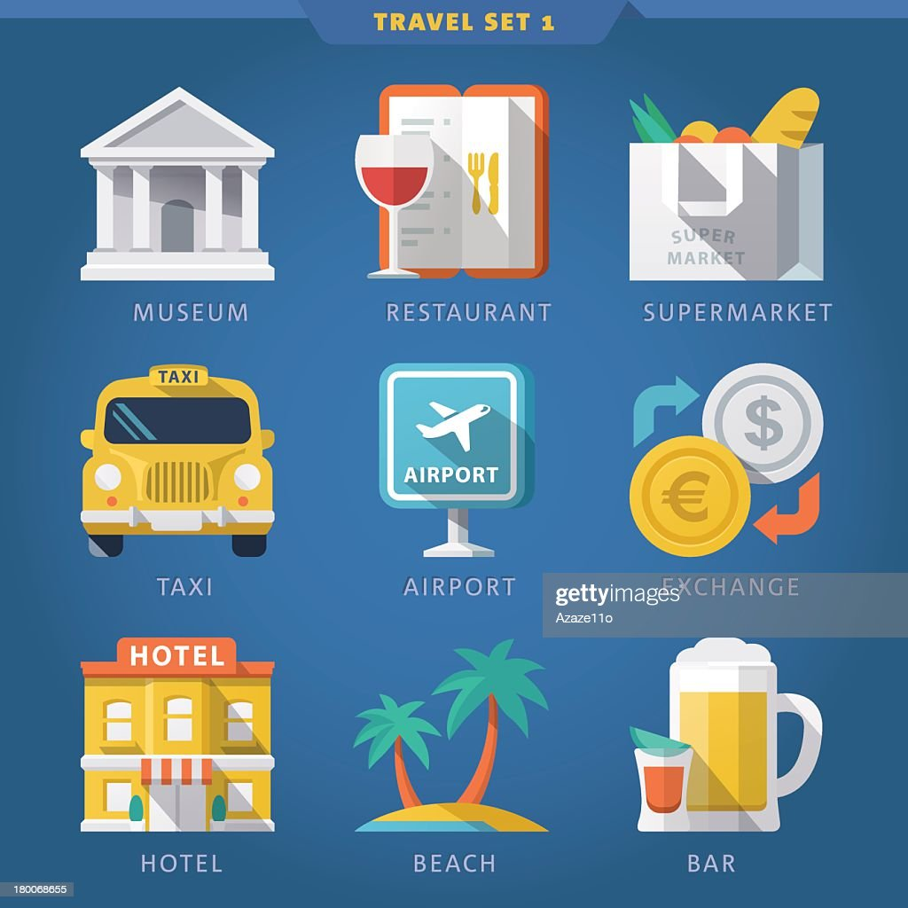 A set of illustrated travel icons