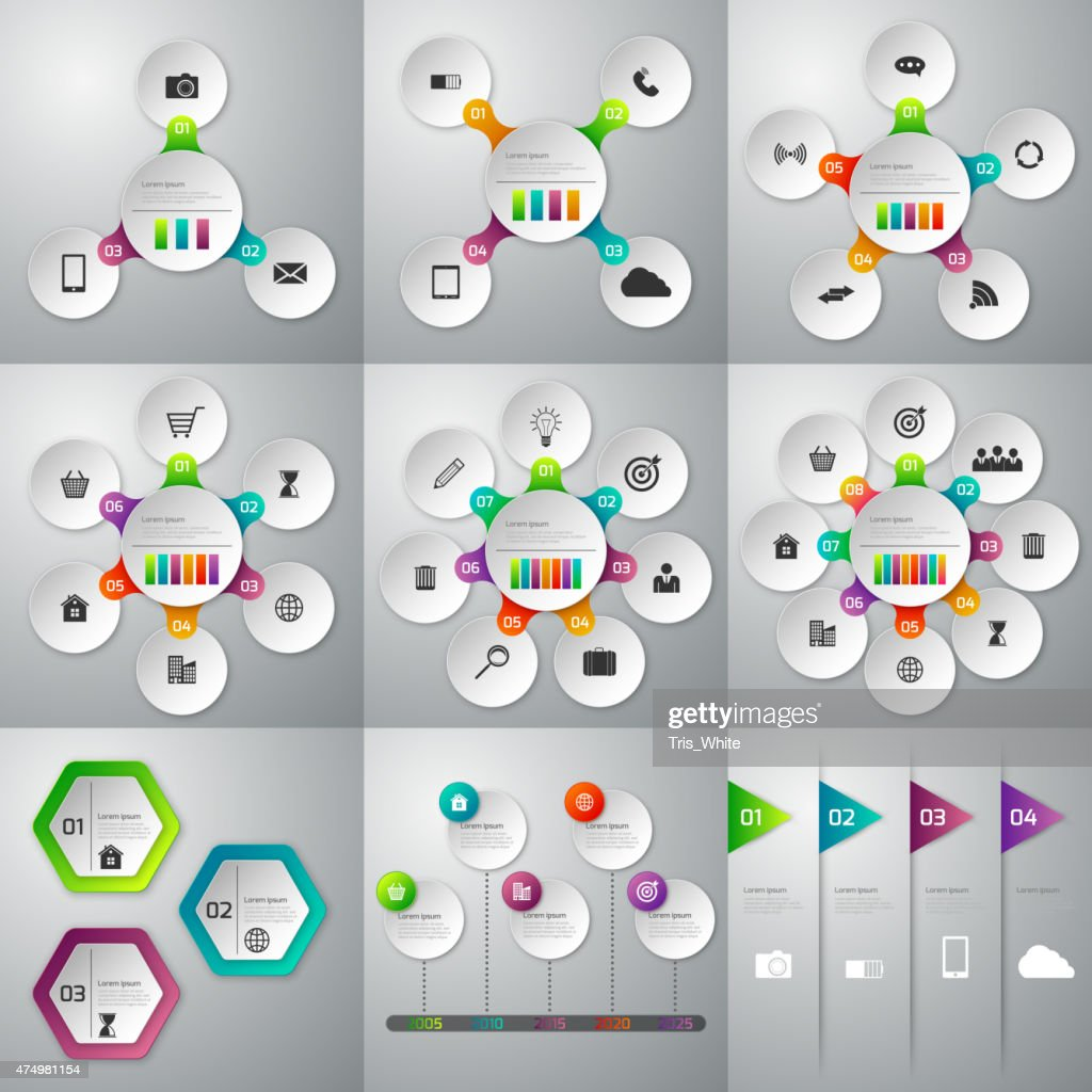 set of illustrations of infographics