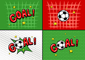 A set of illustrations on the theme of football in the style of comics. Soccer ball. Comic text speech bubble balloon. Pop art style. Comics book font sound phrase template. Vector illustration