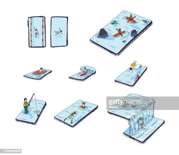 社交的な練習をしながら、水遊びを楽しむ人々の異なるシーンを表すイラストのセット。 休暇トラフ電話の概念。 - 観光客点のイラスト素材/クリップアート素材/マンガ素材/アイコン素材