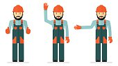 set of illustrations with workers in overalls
