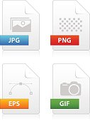 Set of image file type icons
