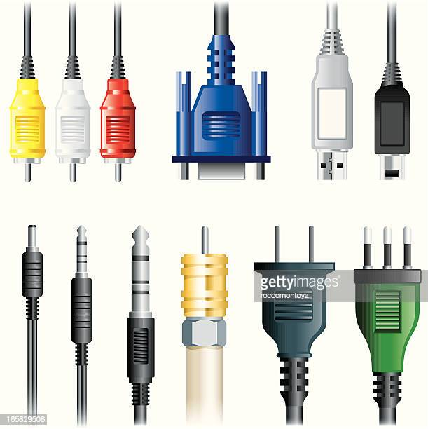set of images of multimedia cables - usb cord stock illustrations, clip art, cartoons, & icons