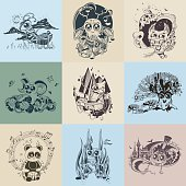 Set of images with painted fantastic creatures cartoonish