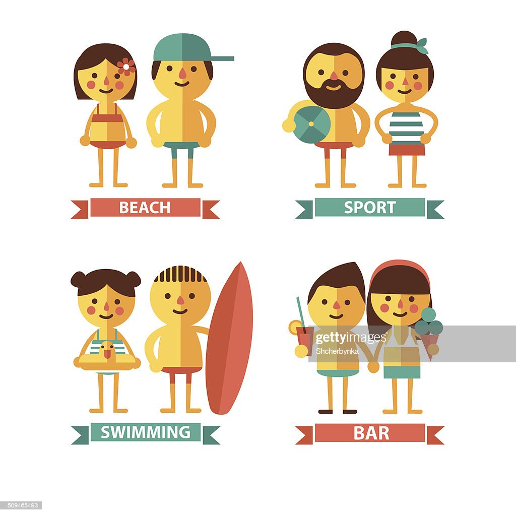 Set of images with the characters on the beach theme