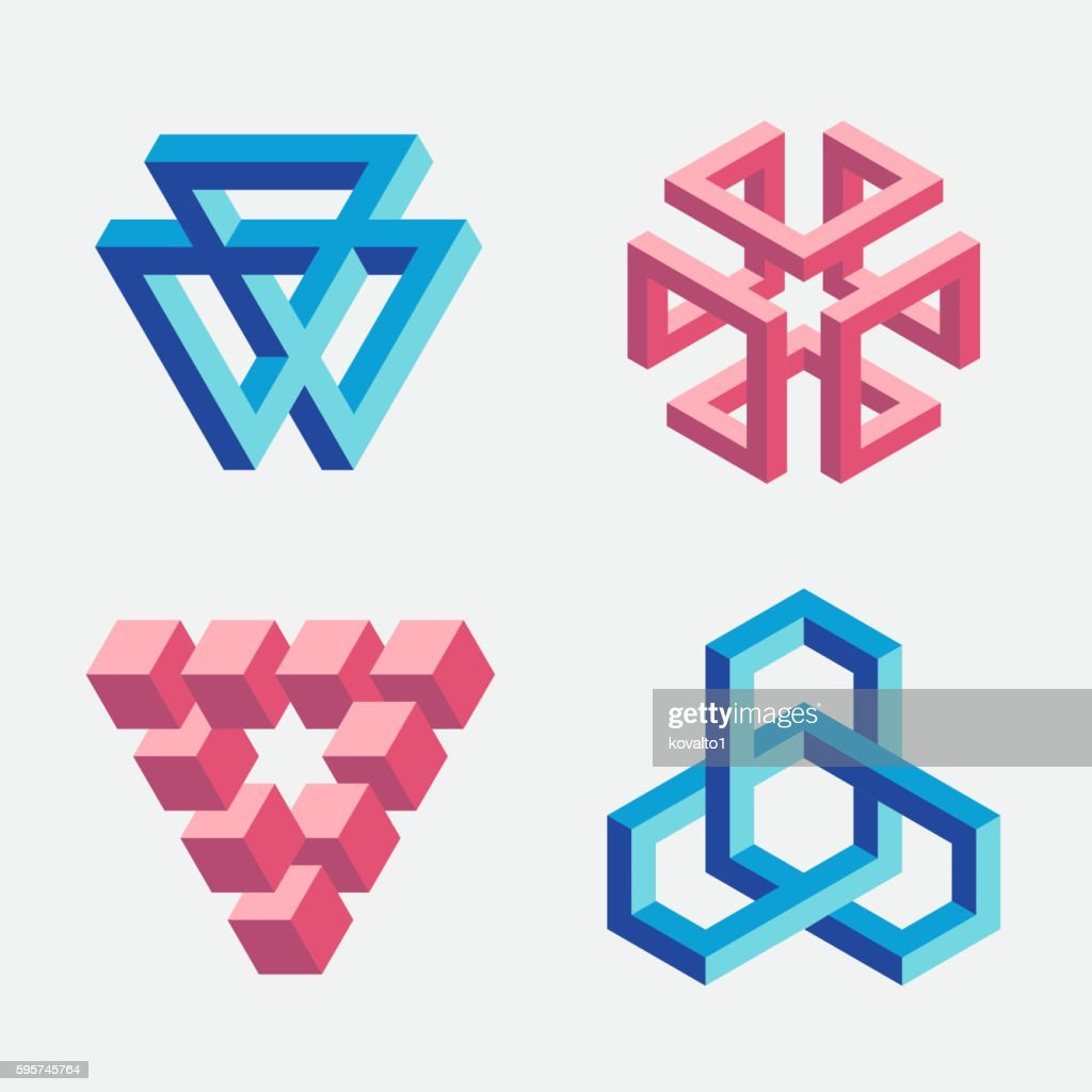 Set of impossible objects, triangles and cubes