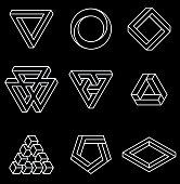 Set of impossible shapes.