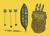Set of indian things with cute hand drawn owl.